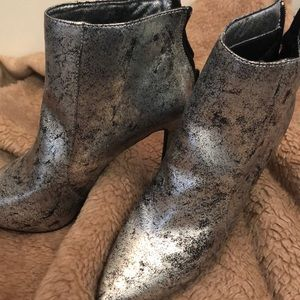 Shoes - Silver High heeled booties size 7.5